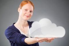 Businesswoman Promoting a Cloud Service Royalty Free Stock Photos