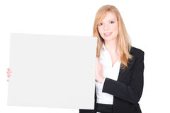 Businesswoman promoting her company Stock Photo