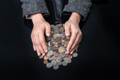 Businesswoman protected money coins Royalty Free Stock Photos