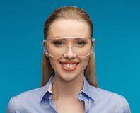 Businesswoman in protective glasses Royalty Free Stock Photography