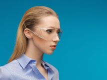 Businesswoman in protective glasses Stock Photography