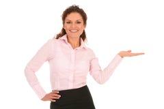 businesswoman przedstawia coś Fotografia Stock