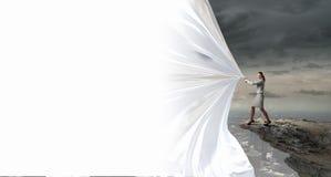 Businesswoman pull fabric banner Stock Image