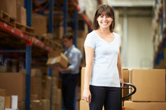 Businesswoman Pulling Pallet In Warehouse Stock Photo