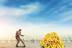 Businesswoman pulls the pile of gold bars Stock Photos