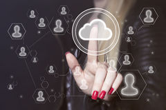 Businesswoman push button cloud message icon online Royalty Free Stock Image