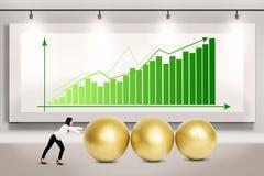 Businesswoman push profit Stock Images