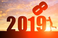 Businesswoman push with 2019 year royalty free stock image