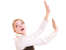 Businesswoman pushing away blank copy space Stock Photo