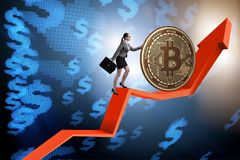 Businesswoman pushing bitcoin in cryptocurrency blockchain conce Royalty Free Stock Image