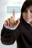 Businesswoman pushing button Royalty Free Stock Image