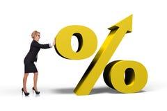 Businesswoman pushing  percent Royalty Free Stock Photo