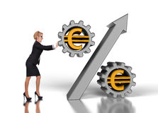 Businesswoman pushing percent Stock Image