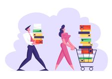 Businesswoman Pushing Shopping Cart Full of Documentation. Businessman Carry Big Heap of Documents Folders. Busy Office People Characters, Company Employees royalty free illustration