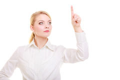 Businesswoman pushing virtual button pointing Stock Photography