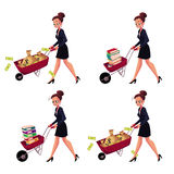 Businesswoman pushing wheelbarrow full of money bags, book, document folders. Set of happy and worried businesswomen pushing wheelbarrows full of money bags Royalty Free Stock Photography