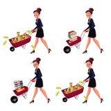 Businesswoman pushing wheelbarrow full of money bags, book, document folders Royalty Free Stock Photography