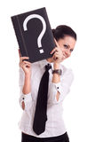 Businesswoman with question book Royalty Free Stock Images