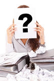 Businesswoman with question mark Royalty Free Stock Photography