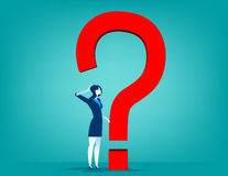 Businesswoman with question mark. Concept business illustration. Vector flat Royalty Free Stock Photo
