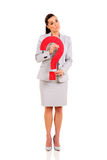 Businesswoman question mark Stock Photos
