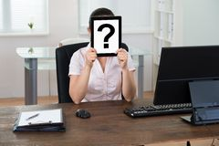 Businesswoman With Question Mark Sign Royalty Free Stock Photo