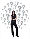 Businesswoman and question marks. Businesswoman surrounded by question marks on white background Stock Photos