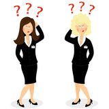 Businesswoman with question marks Stock Image