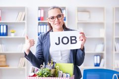 The businesswoman quitting her job in office Stock Photography
