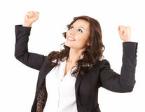 Businesswoman with raised fists Stock Photography