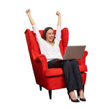Businesswoman with raised hands up Royalty Free Stock Photo