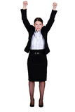 Businesswoman raising her hands Stock Image