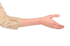 Businesswoman - reaching handshake. Isolated studio shot of a Caucasian businesswoman reaching out for a handshake Stock Photos