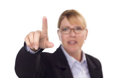 Businesswoman Reaching Out with Finger Royalty Free Stock Image