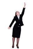Businesswoman reaching up royalty free stock images