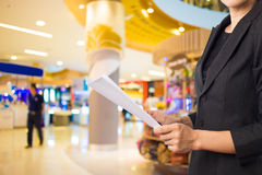 Businesswoman reading a business document. Royalty Free Stock Photos
