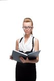 Businesswoman reading diary Stock Photos