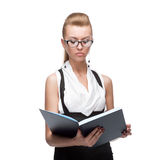 Businesswoman reading diary Royalty Free Stock Image