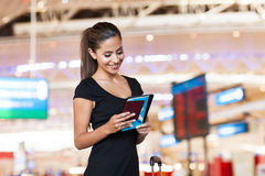 Businesswoman reading emails Royalty Free Stock Image