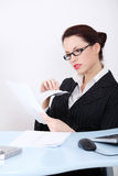Businesswoman reading files. Royalty Free Stock Images