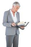 Businesswoman reading her diary Royalty Free Stock Photos