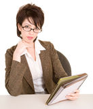 Businesswoman Reading her Notes Stock Photo