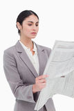 Businesswoman reading the news Stock Images