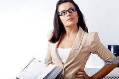 Businesswoman reading notebook Royalty Free Stock Photo