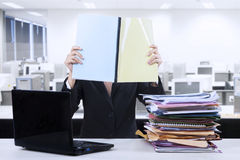 Businesswoman reads documents Stock Photography