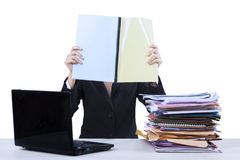 Businesswoman reads documents 1 Royalty Free Stock Photo