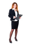 Businesswoman Ready For Write Stock Photo