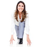 Businesswoman ready to run Stock Photo