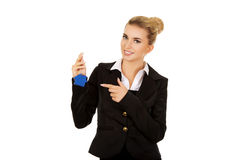 Businesswoman real estate agent with house pendant Royalty Free Stock Photo
