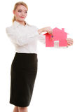 Businesswoman real estate agent paper house keys Stock Photos